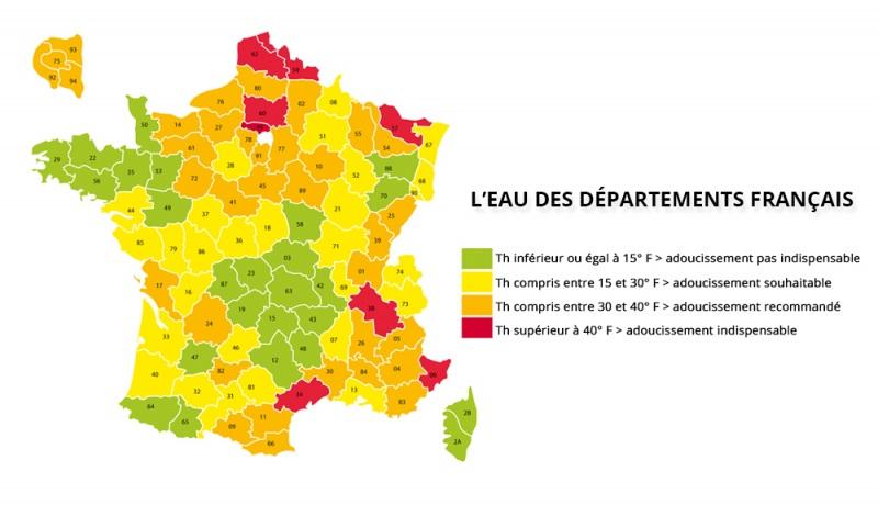 Dureté de l'eau en France (calcaire)